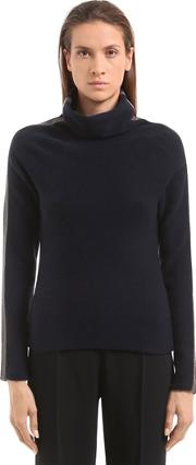 Beaded Wool Cashmere Turtleneck Sweater