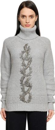 Embellished Wool & Cashmere Sweater