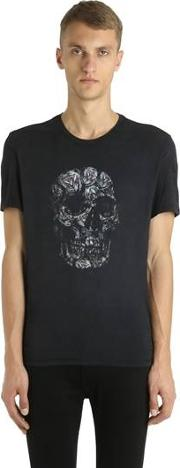 Floral Skull Printed Jersey T Shirt