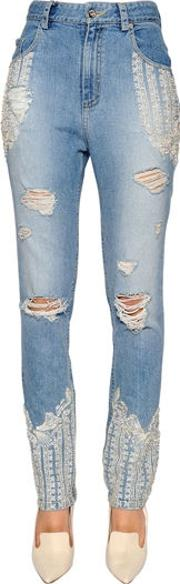 Skinny Embellished Ripped Denim Jeans