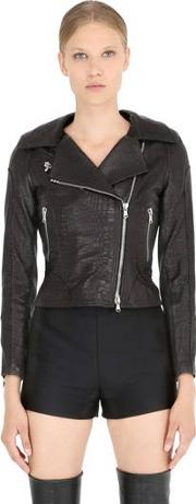 Croc Embossed Nappa Leather Moto Jacket