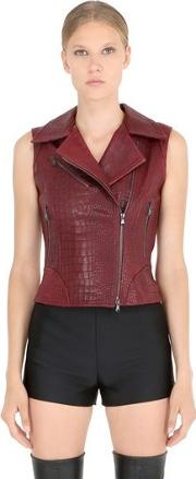 Croc Embossed Nappa Leather Moto Vest