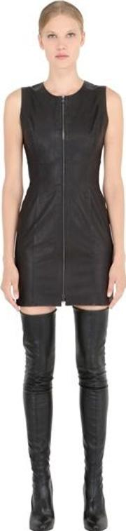 Sleeveless Stretch Nappa Leather Dress