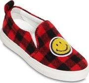 Smiley Patch Plaid Felt Sneakers