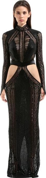 Embellished Long Sleeve Open Back Gown