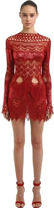 Embroidered & Fringed Cutout Dress