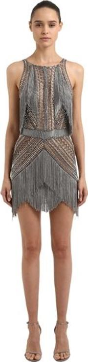 Fringed Knit And Embroidered Dress
