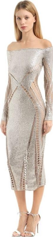 Sequined Off The Shoulders Knit Dress