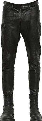 Nappa Leather & Cotton Drill Pants