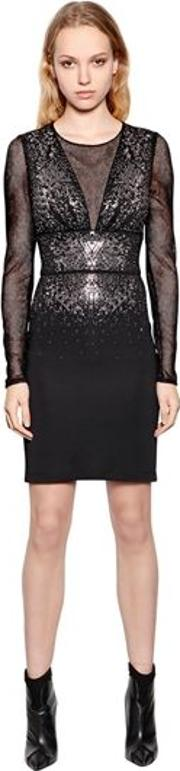 Viscose Jersey & Mesh Dress W Crystals