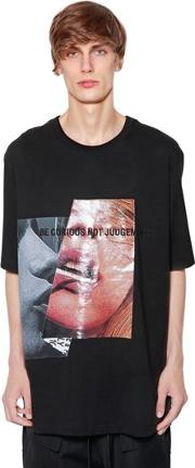 Printed & Embroidered Cotton T Shirt