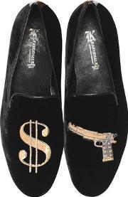 Gun Embroidered Suede Loafers