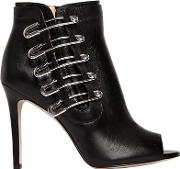 100mm Unity Pins Leather Ankle Boots