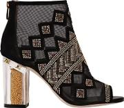 90mm Nakano Studded Mesh & Suede Boots