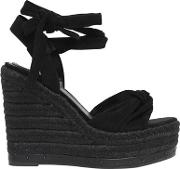 120mm Grayce Suede Lace Up Wedges