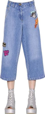 Patches Washed Cotton Denim Jeans