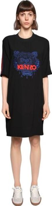 Tiger Embroidered Crepe T Shirt Dress