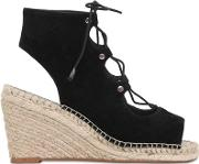 80mm Marine Suede Lace Up Wedge Sandals