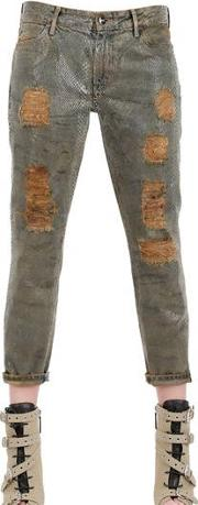 Skinny Cotton Denim Relaxed Jeans
