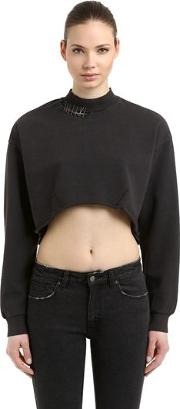 Disect Cotton Cropped Sweater W Pins
