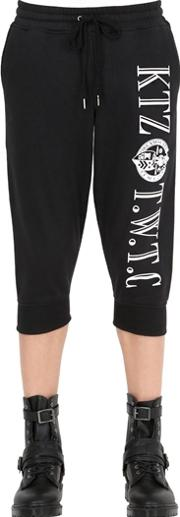 Cropped Embroidered Cotton Jogging Pants
