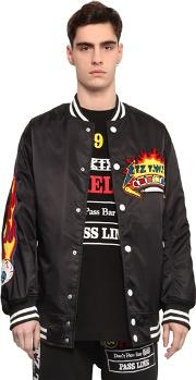 Pinball Patched Canvas Bomber Jacket