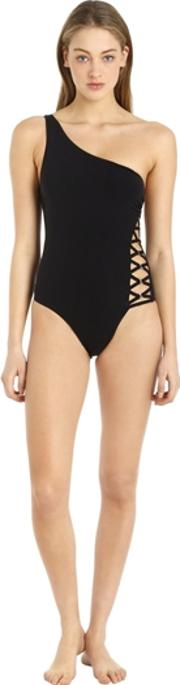 Lace Up Detail Lycra One Piece Swimsuit