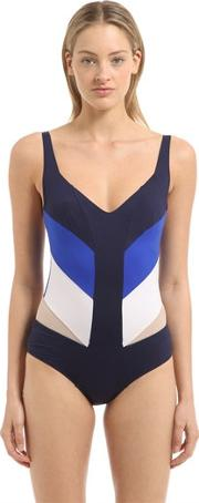 Paneled Lycra Swimsuit W Sheer Inserts
