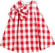 Cotton Gingham Dress With Bow