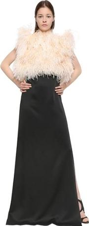 Satin Sable Dress With Feathers