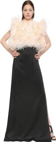Satin Sable Dress With Marabou Feathers
