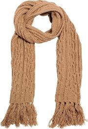 Camel Wool Cable Knit Scarf