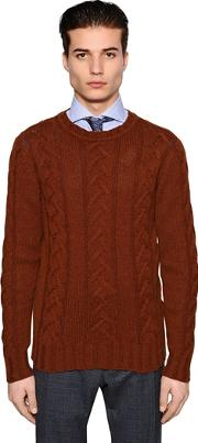 Camel Wool Cable Knit Sweater
