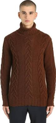 Camel Wool Cable Knit Turtleneck Sweater