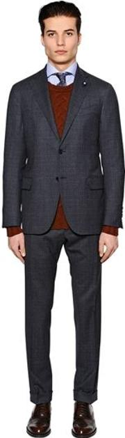 Checked Stretch Wool Suit