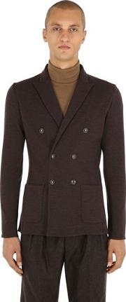 Unlined Double Breasted Knit Wool Jacket