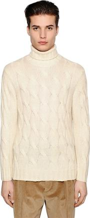 Wool Mohair Blend Cable Knit Sweater