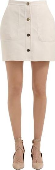 Cotton Mini Skirt With Front Buttons