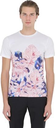 Floral Printed Cotton Jersey T Shirt