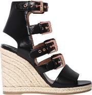 90mm Rosario Multi Buckle Leather Wedges