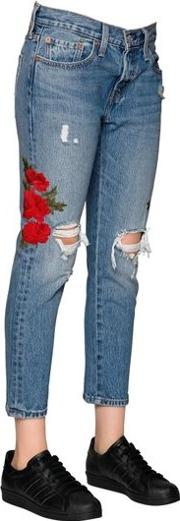 501 Cropped Embroidered Denim Jeans
