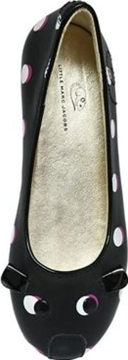 Dots Printed Leather Ballerina Flats