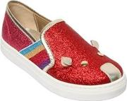 Glittered Leather Slip On Sneakers