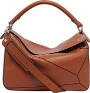 Large Puzzle Leather Top Handle Bag