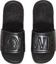 Logo Embossed Leather Slide Sandals