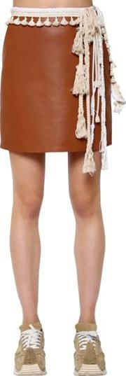 Nappa Leather Mini Skirt W Rope Details