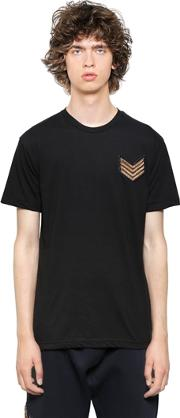 Patch Embroidered Cotton Jersey T Shirt
