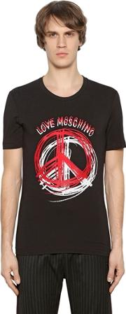Peace Sign Print Stretch Jersey T Shirt