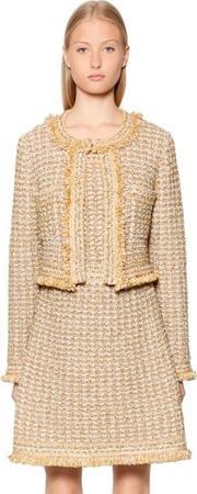 Cropped Lurex & Wool Blend Boucle Jacket