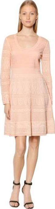 Intarsia Cotton Knit Long Sleeve Dress